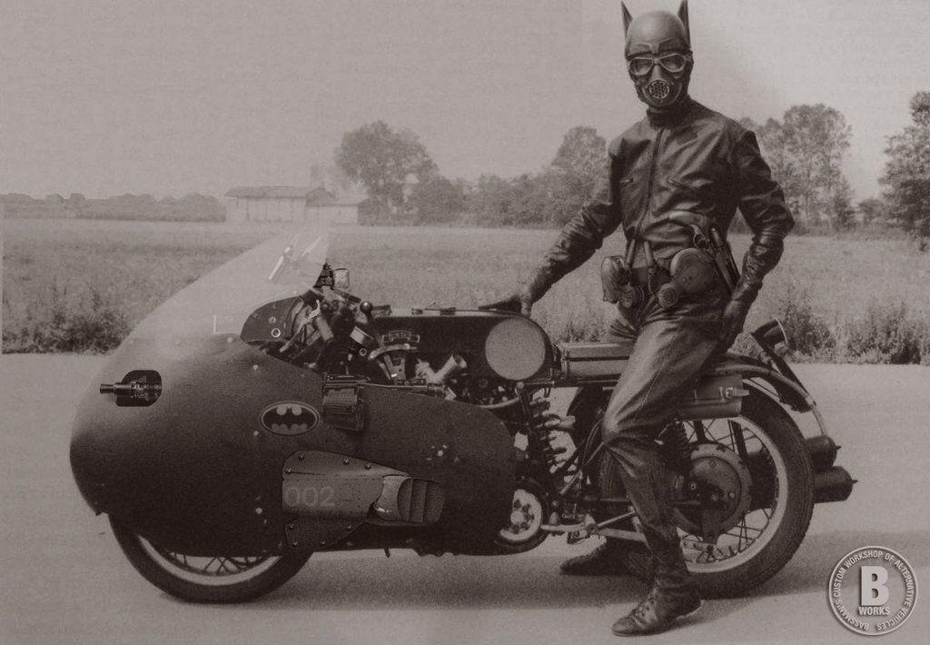 BATMAN on his BATCYCLE, 1950. by bassman5911