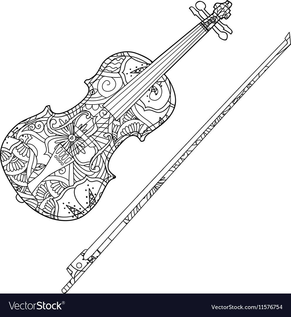 Coloring page with ornamental violin and Vector Image ,