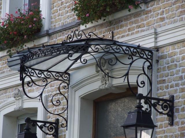 Marquise en fer forg design fer forg pinterest - Porte fer forge exterieur ...