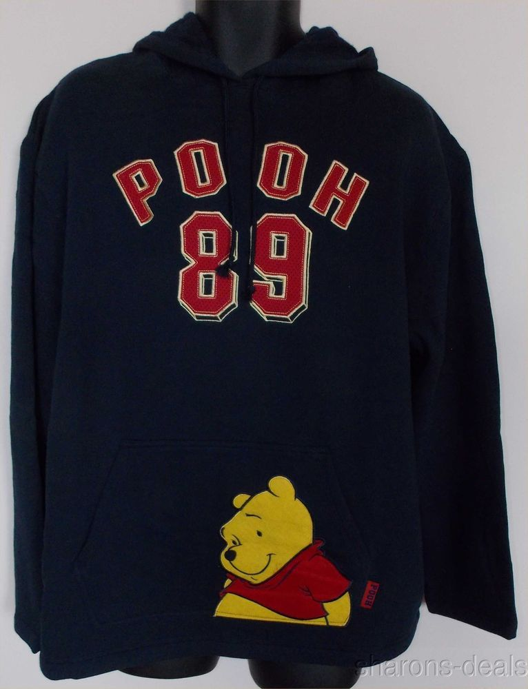 Disney Winnie The Pooh Hoodie Sweatshirt Navy Hooded Fleece Pullover  Embroidered  Disney  HoodedFleecePullover 6862c3a6b