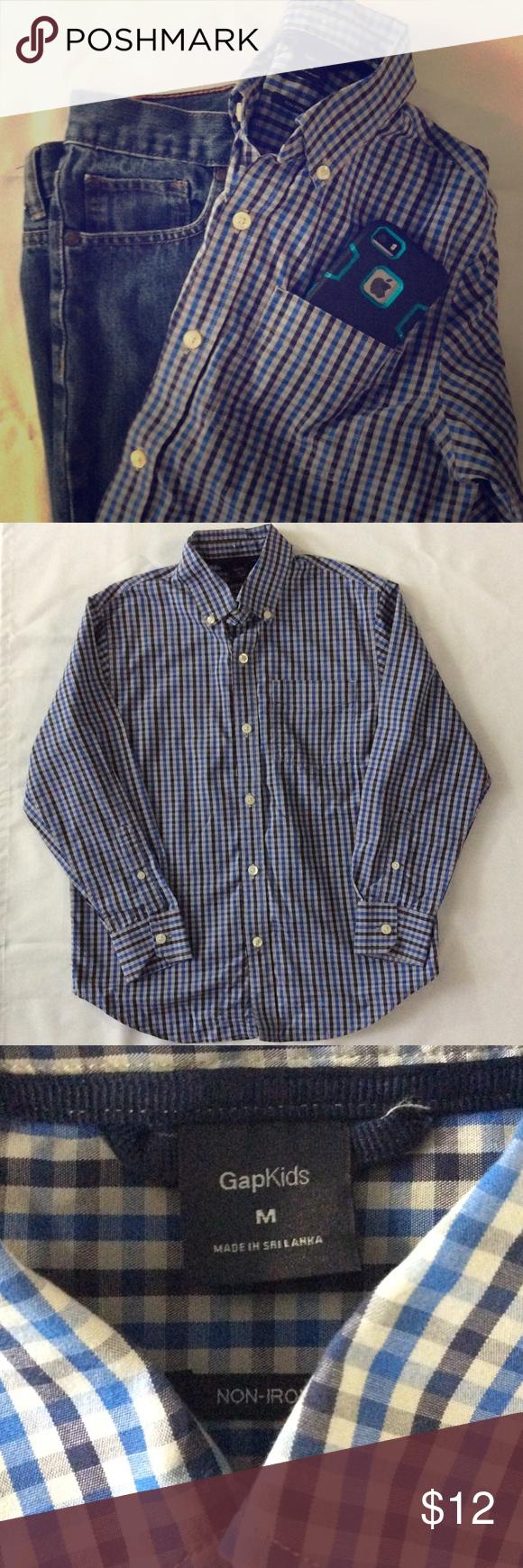 Kids gap button up long sleeved gingham classic navygrayblack