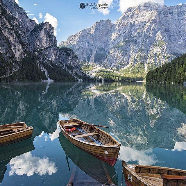 Lago di Braies Italy  By @elcampa1969 #BestVacations  Snapchat : BestVacations  by bestvacations