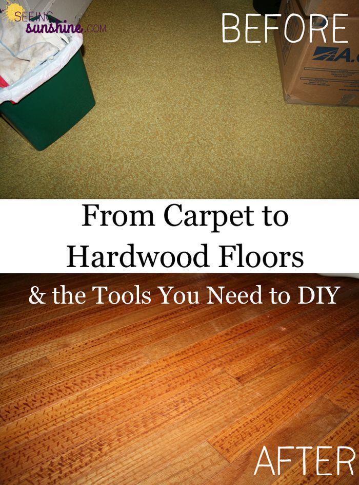 From Carpet To Hardwood Diy Wood Floors Diy Flooring Diy Carpet