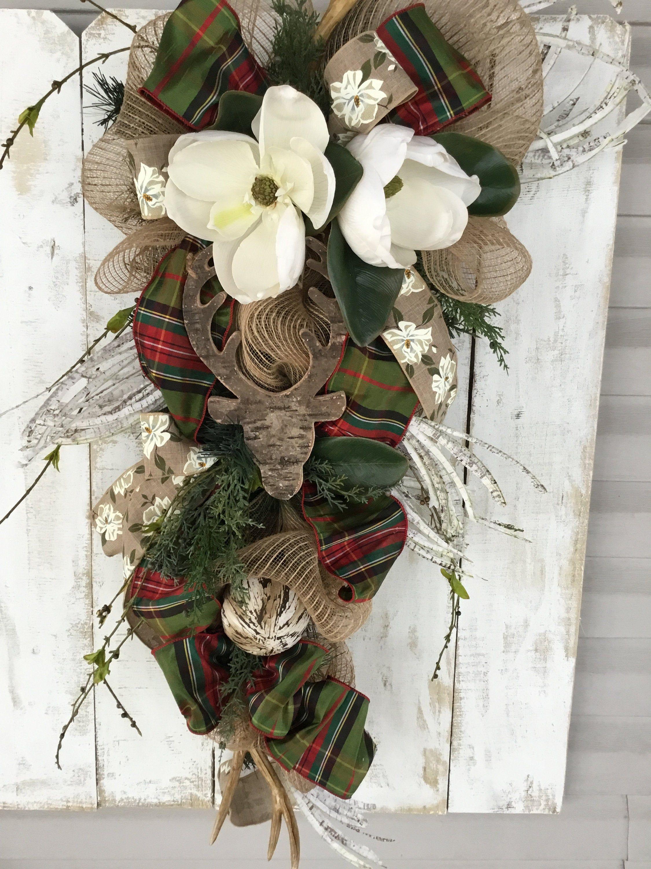 Photo of Christmas wreath, christmas swag, winter wreath, rustic christmas wreath, rustic christmas, magnolia wreath, christmas front door wreath,