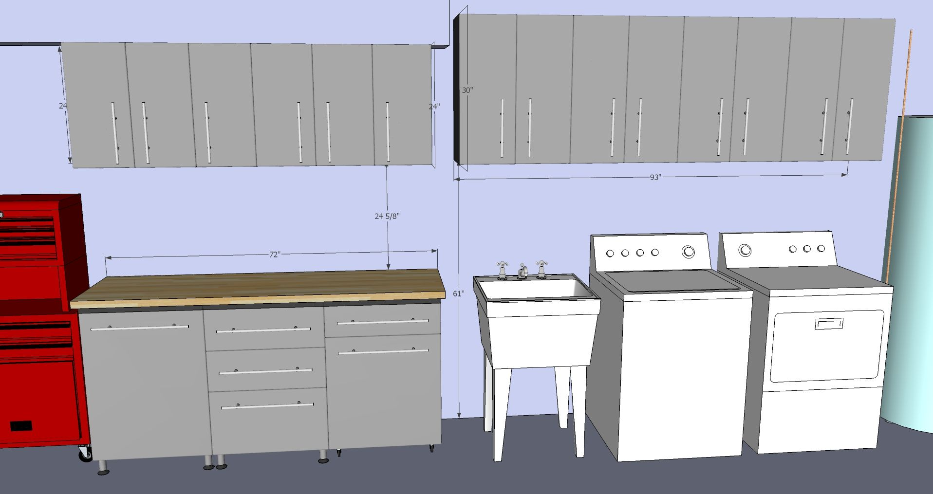 Custom Grey Storage Cabinets drawn in 3D to fit your garage
