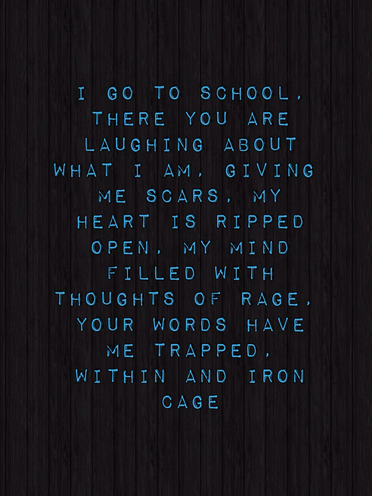 Poem called stuck in an iron cage!!! Love it xx