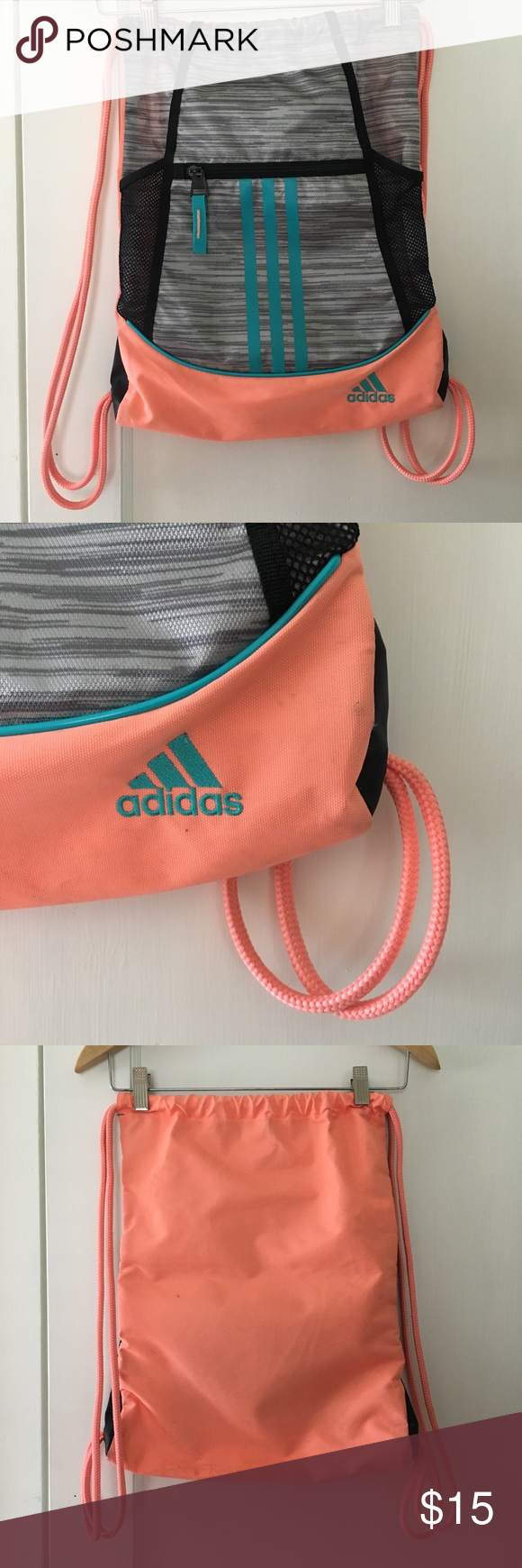 59c474bfadcf Adidas Pull String Bag Great condition. Bright colors. Zipper front pocket. Two  separate mesh side pockets. Very durable. adidas Bags Backpacks