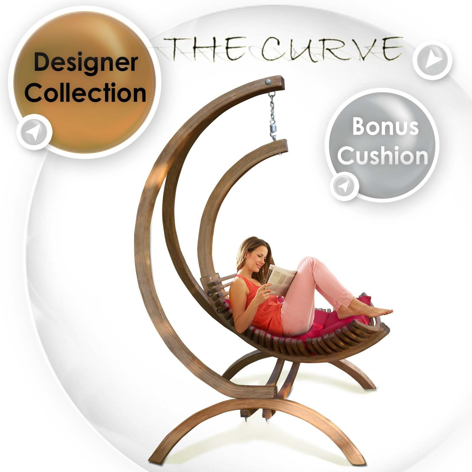 Curve Hanging Egg Timber Swing Chair Outdoor Indoor