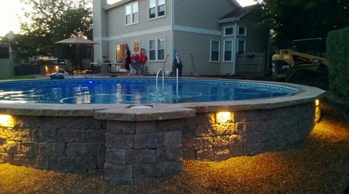 Above ground pool landscape pinterest ground for Above ground pond ideas