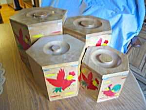 vintage red rooster kitchen canister set for sale at more than mccoy
