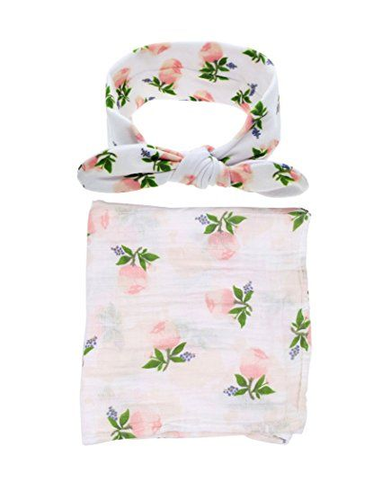 Amazon.com: Baby Cotton Swaddling & Receiving Blanket and Hair Bow Headband Set (Flower Print): Baby