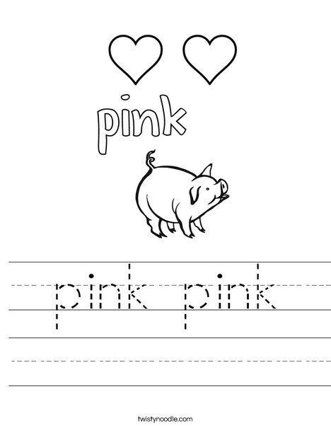pink pink Worksheet Twisty Noodle Preschool colors