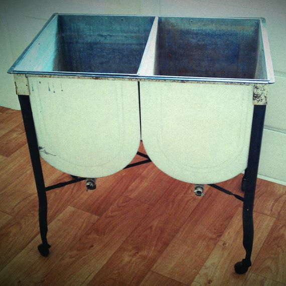 Vintage Galvanized Rolling Double Wash Tubs Wash Tub