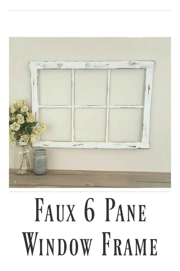 Faux 6 Pane Window Frame | Rustic Window Wall Decor | Farmhouse ...