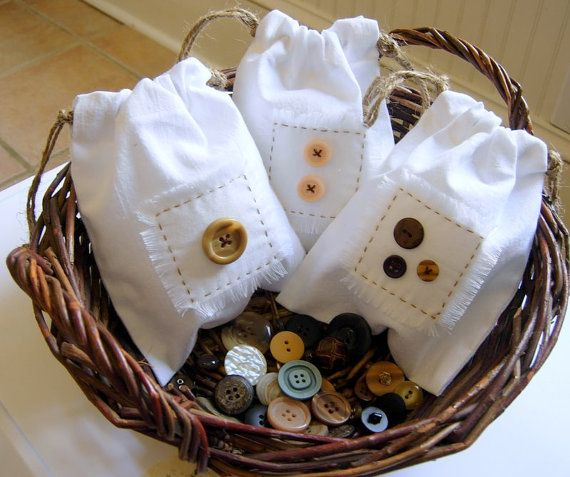 One Two Three Button Muslin Drawstring Bags