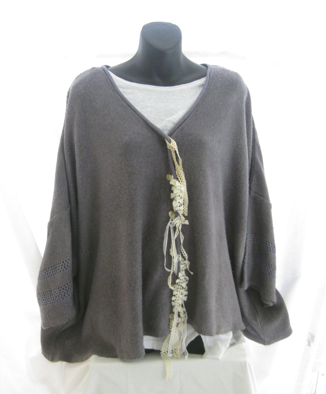 Plus size hand dyed funky sweater, lagenlook, trendy oversized ...