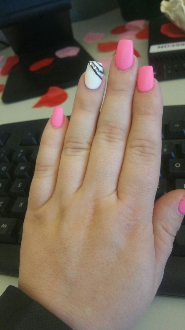 Pink Black And White Nails Valentines Day Nails Coffin Shape Matte