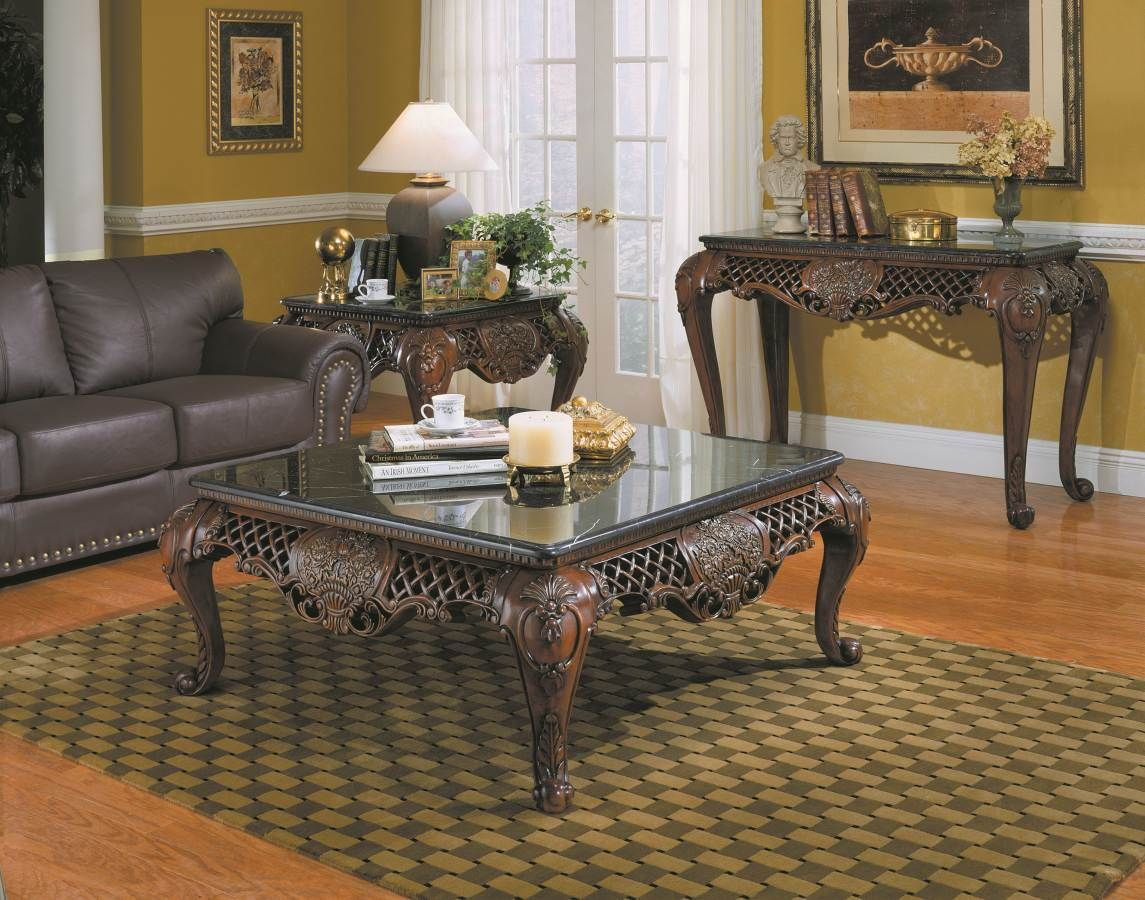 Home Elegance Gladstone Cherry Sofa Table With Black Marble Top Marble Top Coffee Table Coffee Table Square Cocktail Table [ 900 x 1145 Pixel ]