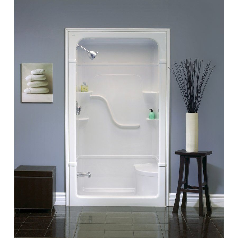 modern-bathroom-with-fiberglass-shower-stall-seat-lowes ...