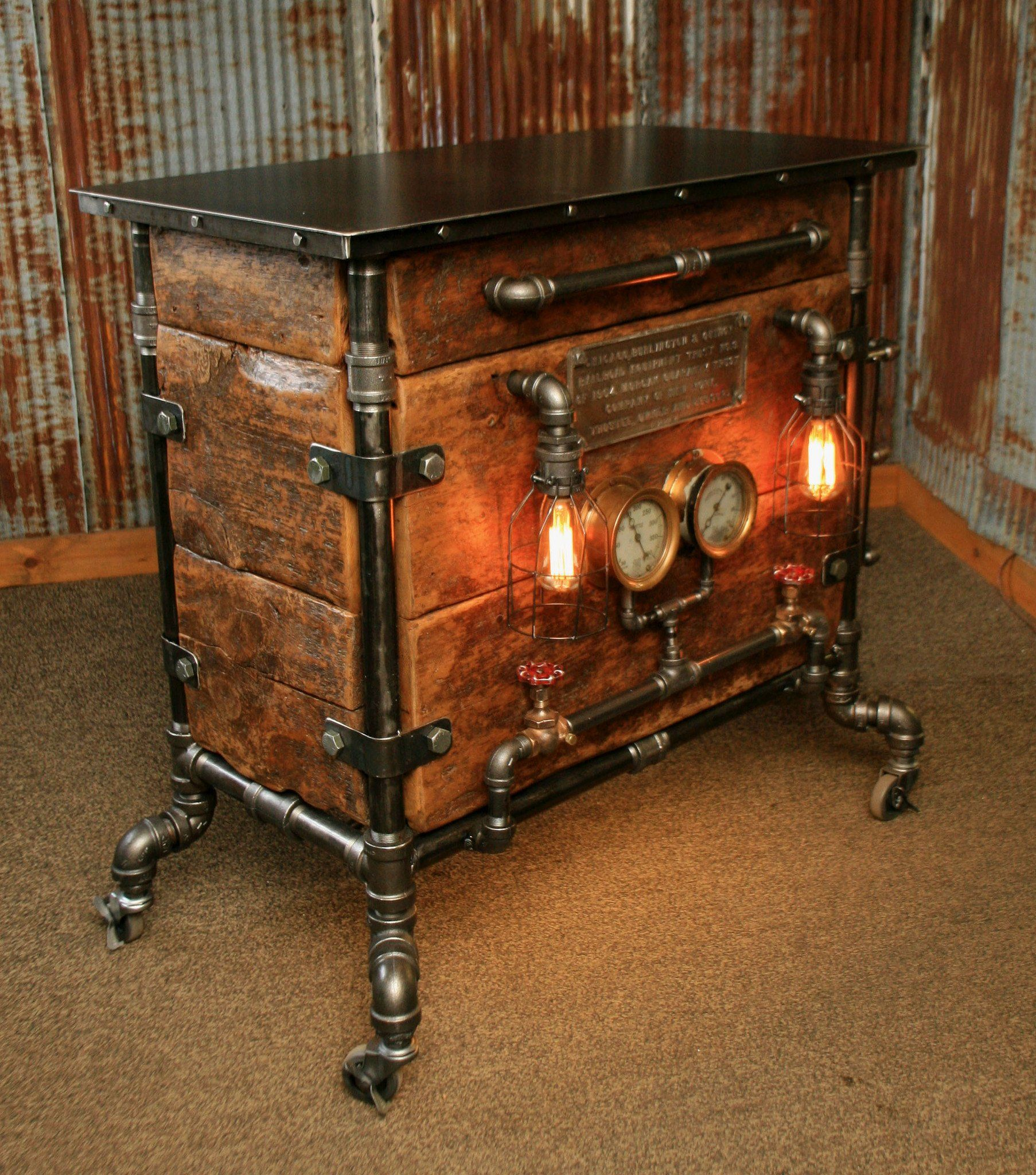 Bar Stand Furniture: Steampunk Industrial Bar / Hostess Stand / Table / Pub