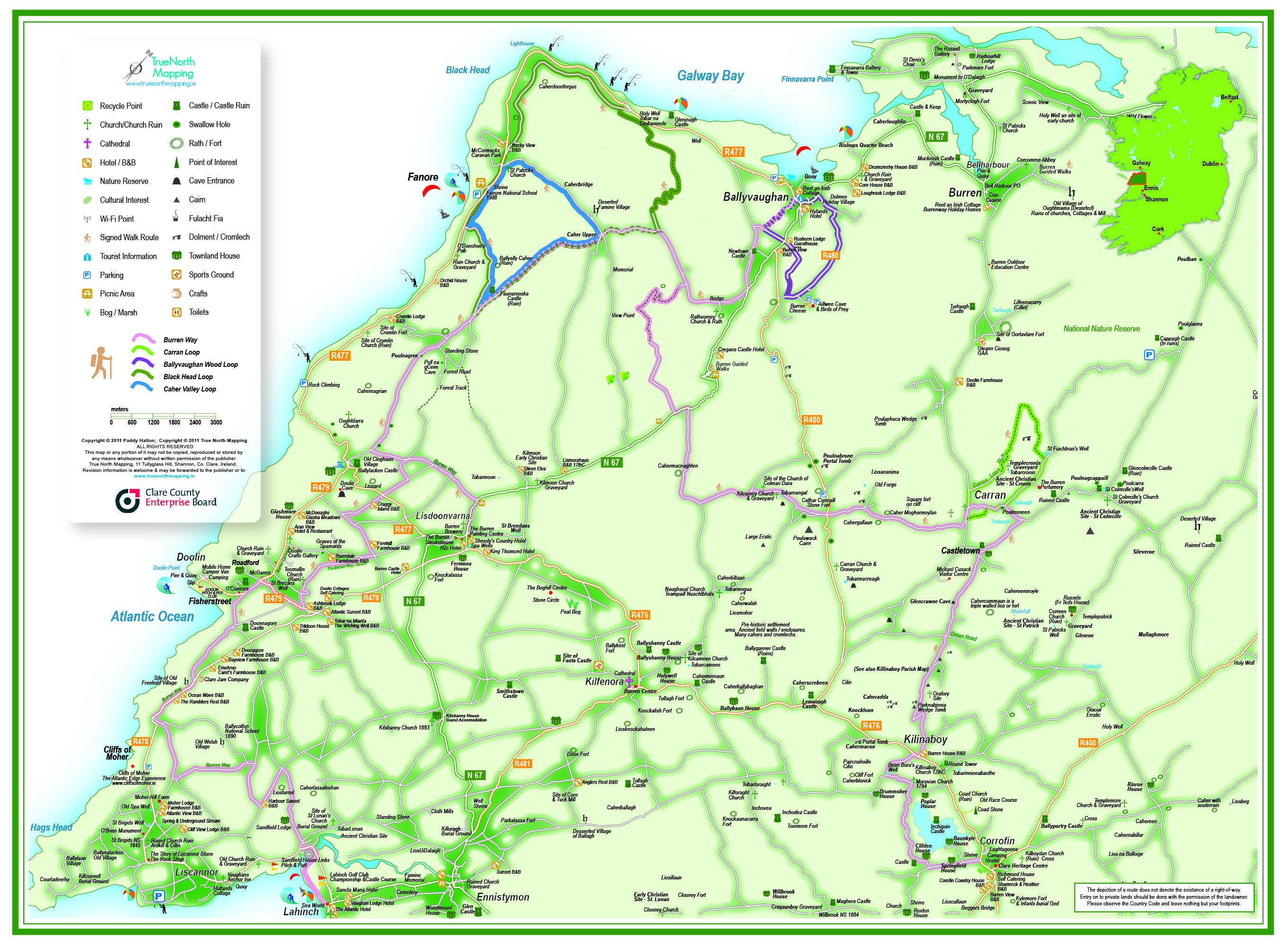 County Clare Map of Ireland- in and around Doolin, Cliffs of Moher on