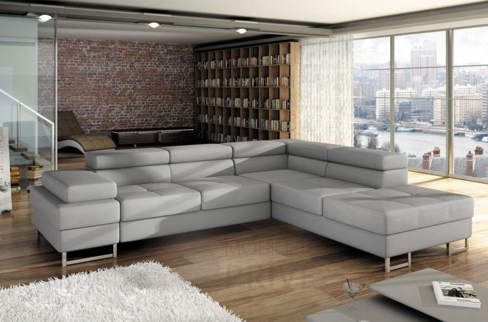 Canapé d angle convertible TURIN en simili cuir de qualité gris clair