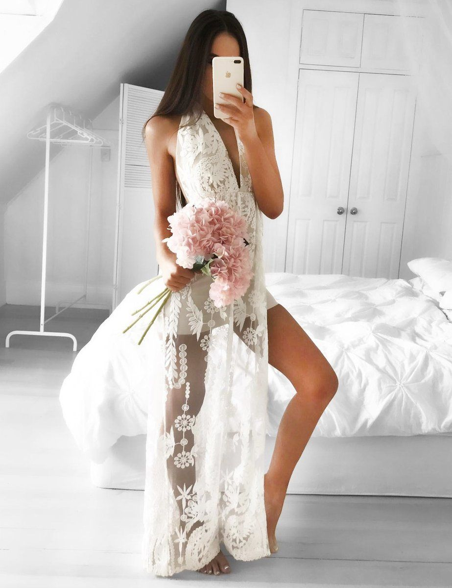 Aline halter backless white prom dress with appliques splitside in