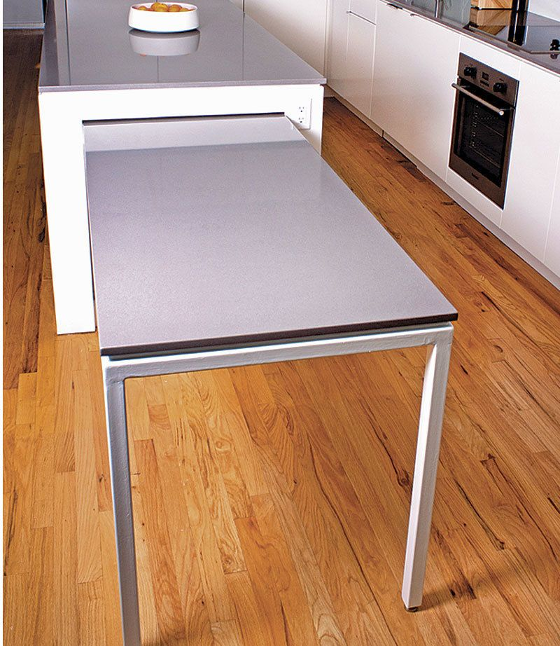 This Kitchen Island With A Pull Out Table Was Actually My Client S Idea He And His Wife Sometimes Entertain Large G Keuken Ontwerpen Keuken Ideeën Droomkeuken