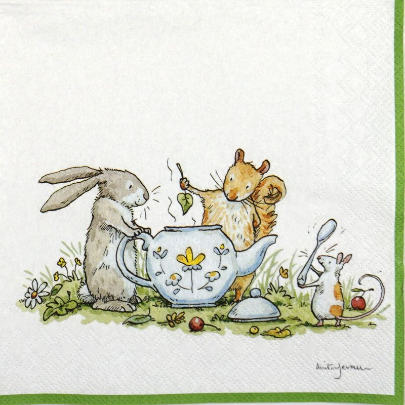 Paper Napkin - Anita Jeram: Tea party #papernapkins
