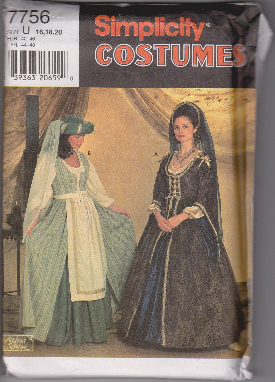 women s renaissance irish dress pattern simplicity 7756 7 00