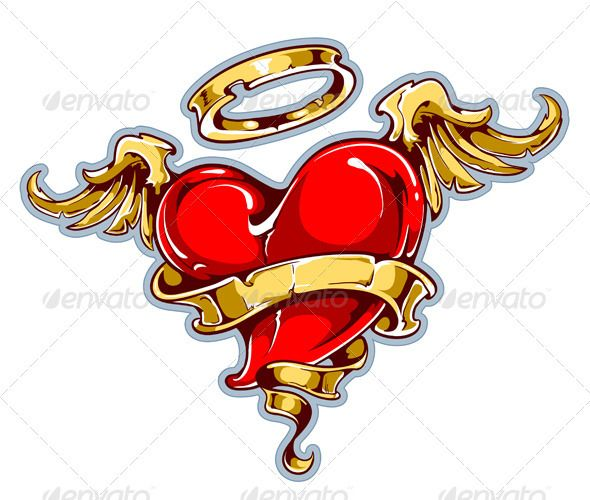 Tattoo Styled Heart Graphicriver Tattoo Styled Heart With Wings