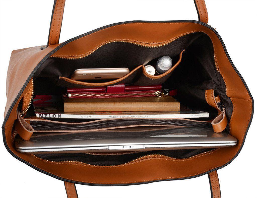Womens Large Shoulder Bag Black Leather  Look