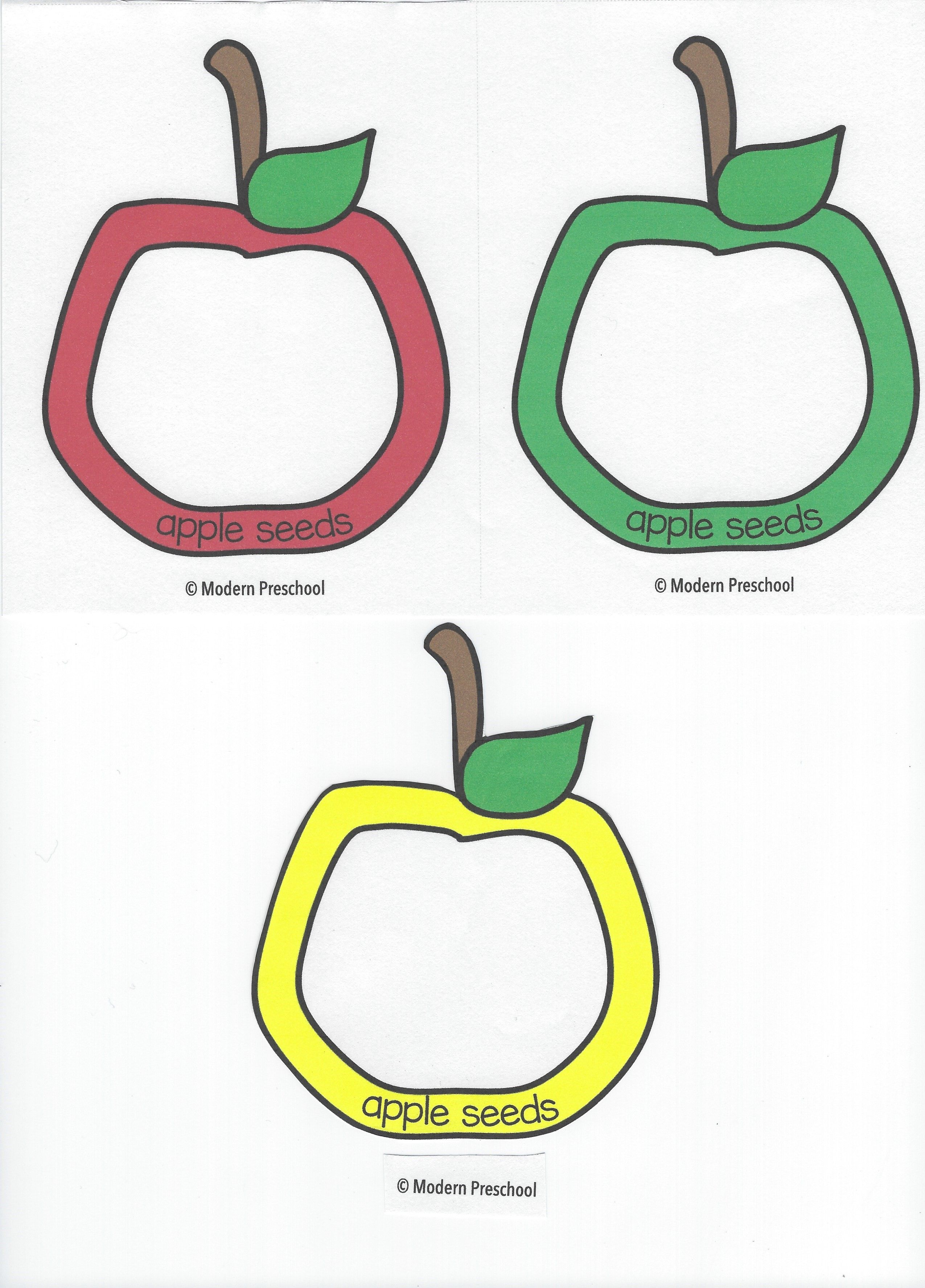 Apple Seed Counting Cards