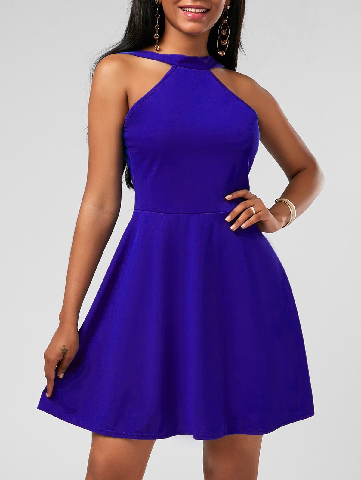 Fit and Flare High Neck Mini Cocktail Dress | Azul y Vestiditos