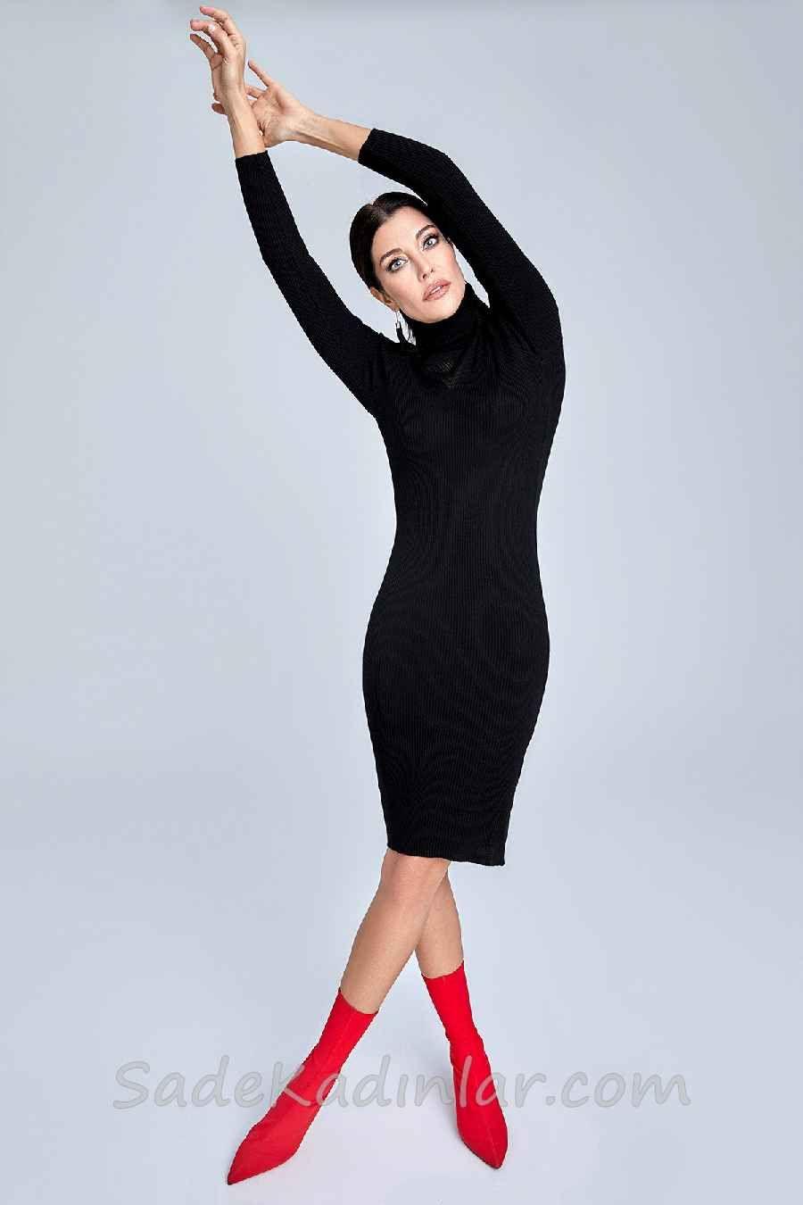 Trendyol Da Sik Kombinler Siyah Midi Bogazli Uzun Kollu Triko Elbise Triko Moda Stilleri Kazak Elbise