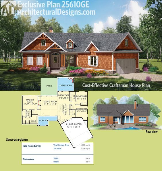 Plan 25610GE: Cost-Effective Craftsman House Plan In 2019