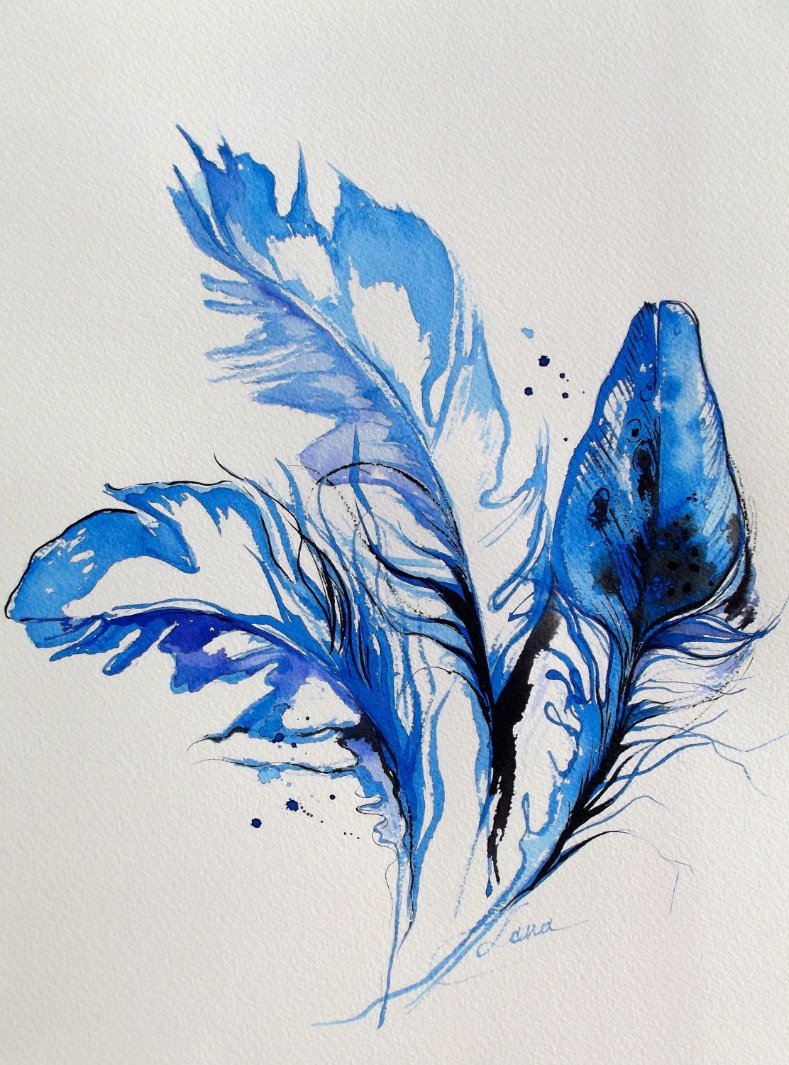 Original abstract birds blue feathers watercolor painting for Painting feathers on canvas