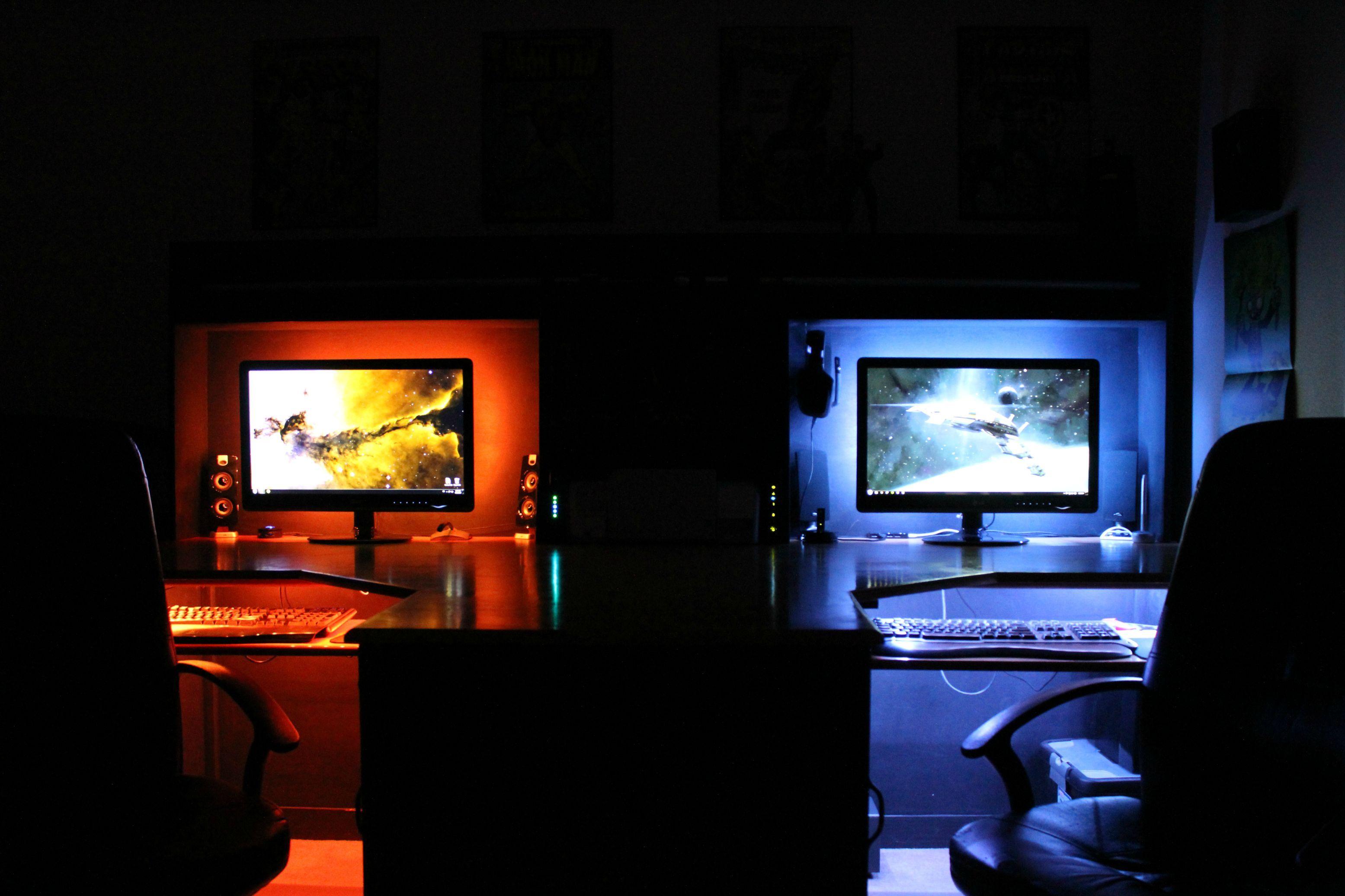 Two Man Battlestation Game Room Gaming Room Setup Gamer Room