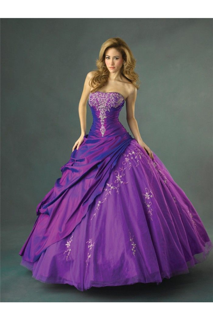 Charming Ball Gown Strapless Purple Taffeta Tulle Draped Embroidery ...