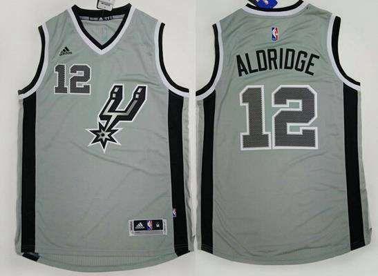 Men's San Antonio Spurs #12 LaMarcus Aldridge Revolution 30 Swingman 2015 New Gray Jersey