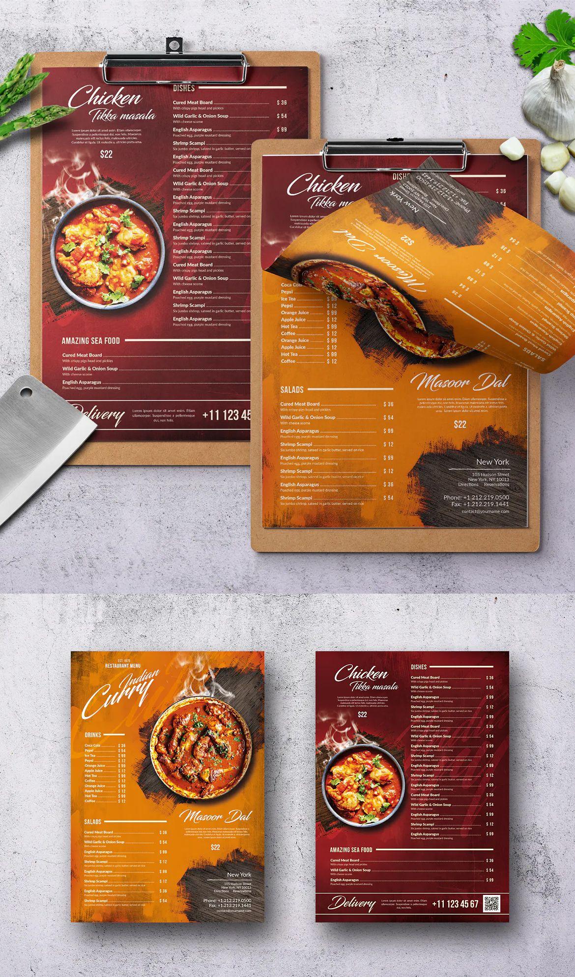 Curry indian food menu design in 2020 indian food menu