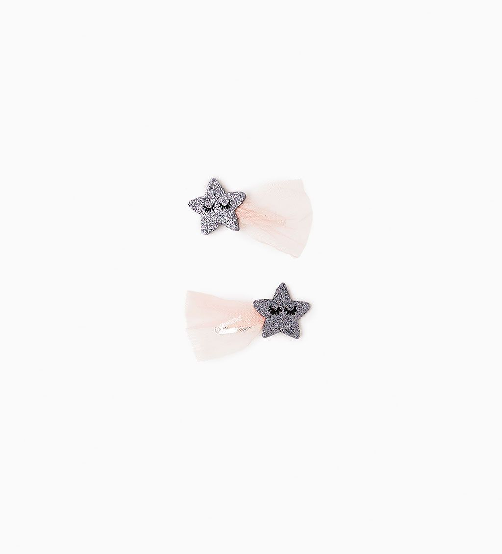Zara baby hair accessories - 2 Pack Of Star Tulle Hair Clips Download Image Zara Baby