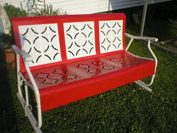 Vintage Metal Porch Glider Piecrust Fresh Enamel Paint