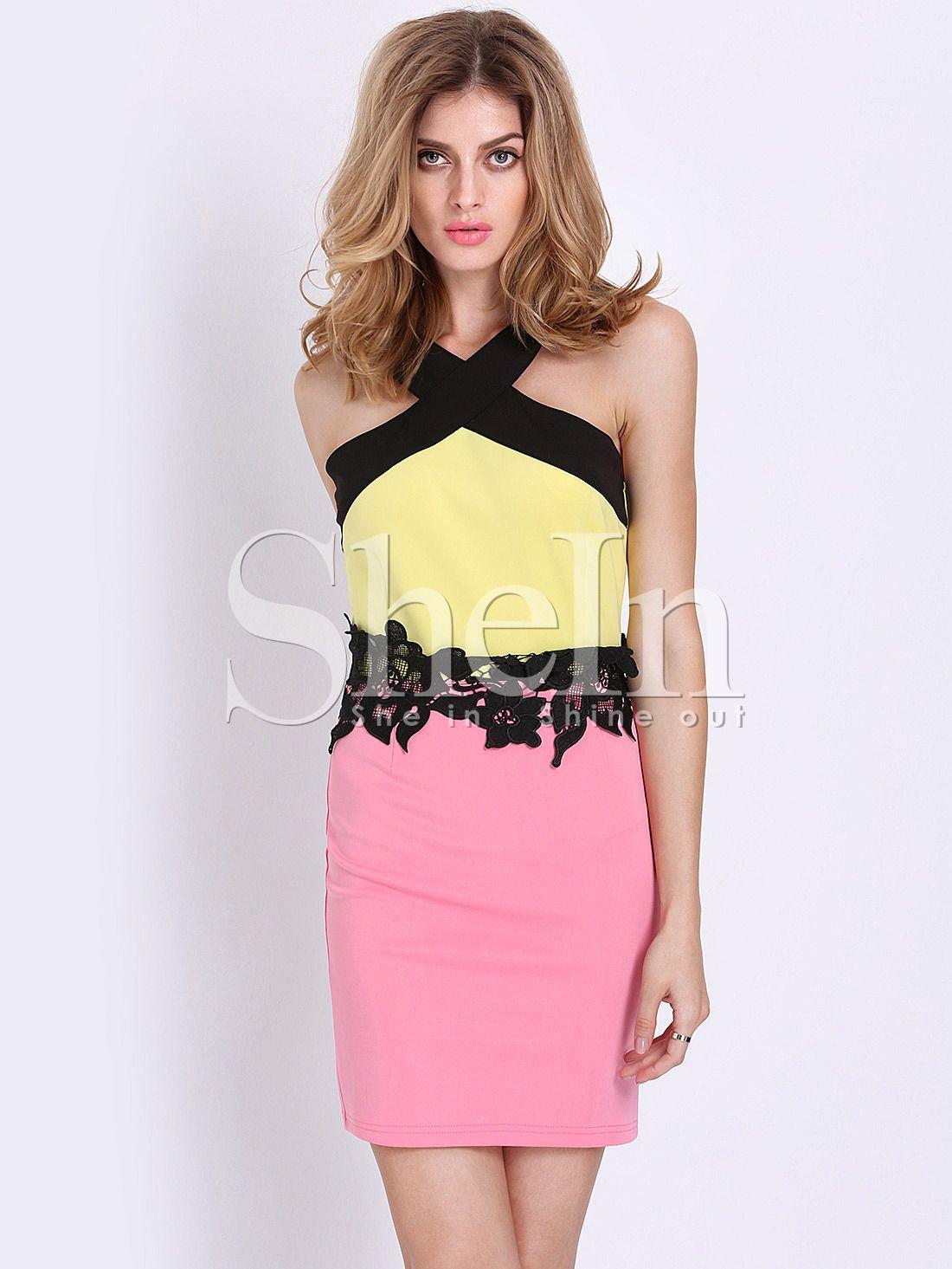 8477357e6 robe sans manche -Color Block -French SheIn(Sheinside) | customiser ...