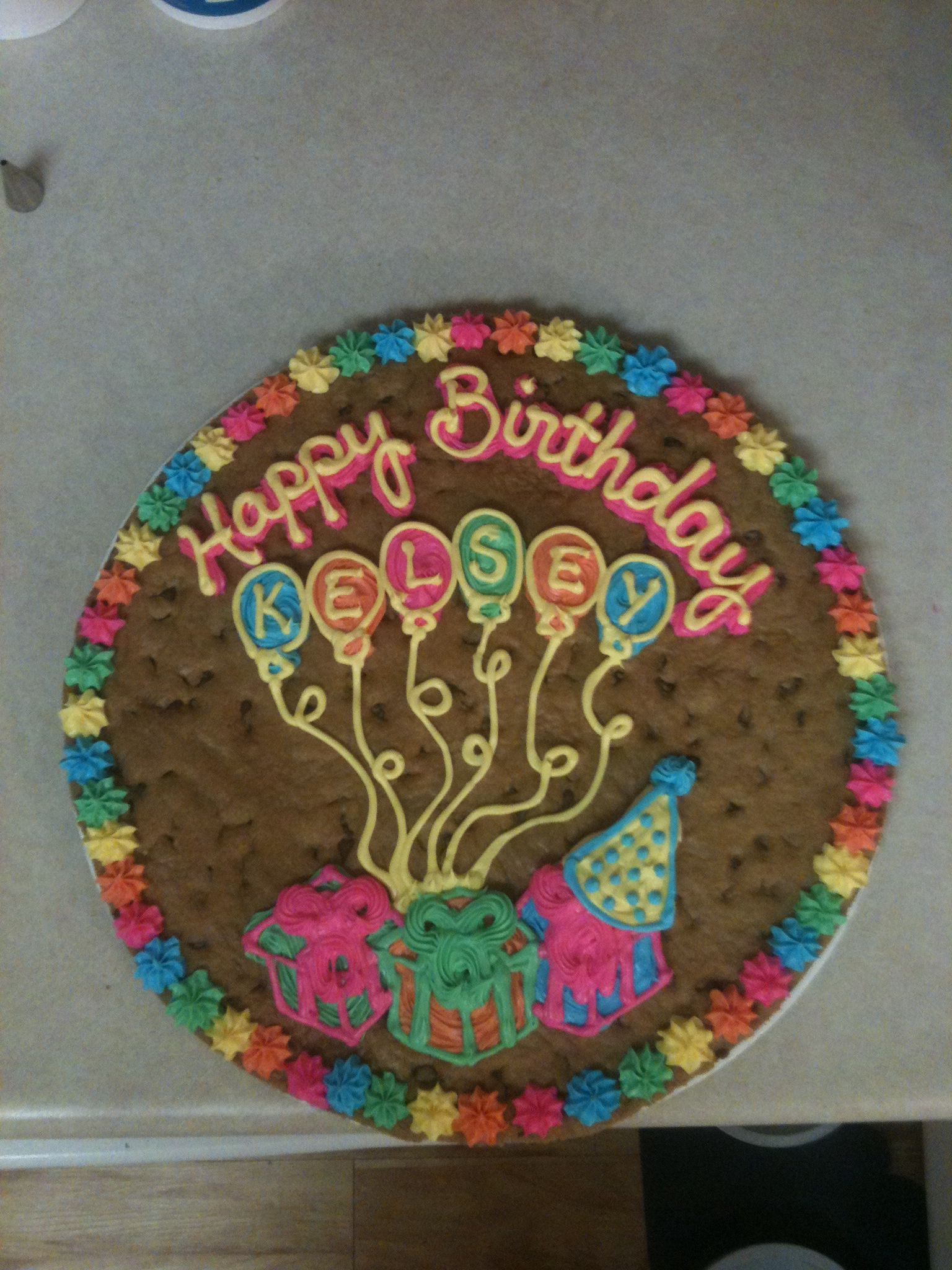 Birthday party cookie cake