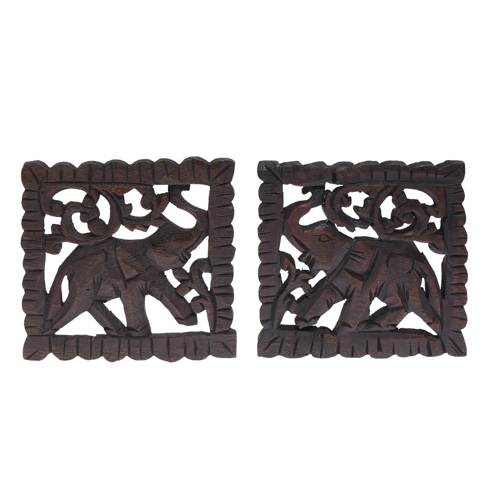 Aeravida elephant pair handmade teak wood relief panel wall art