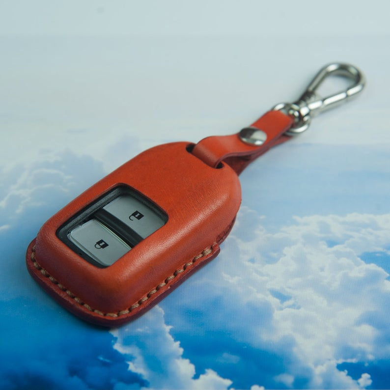 Honda Accord Key Case, Orange Leather Key Cover, Car Key ...