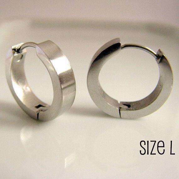 Silver Hoop Earrings For Men Masculine Male Guys Circle Hip Hop