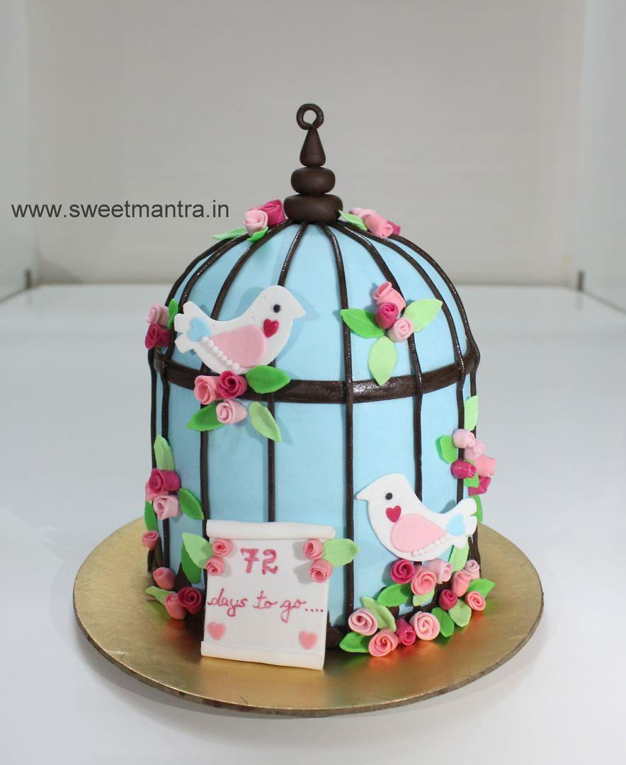 Homemade Eggless 3DCustom ValentineLove birds cage theme birthday