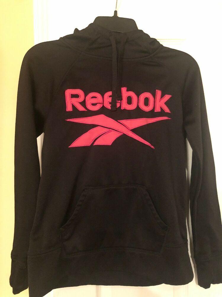 fc75b55678 REEBOK Pink Black Hoodie Womens Large XS Big Classic Logo #fashion ...